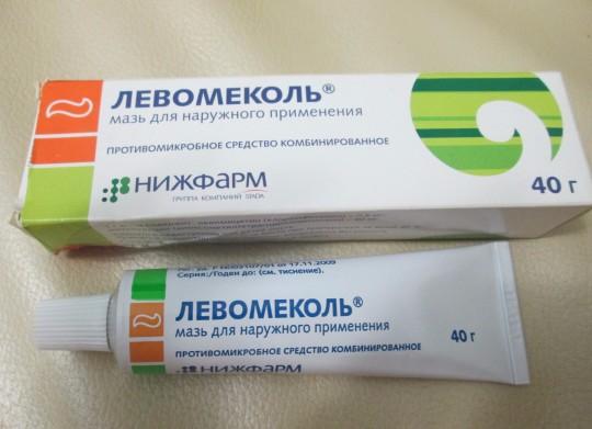 Левомеколь способствует устранению воспаления прокола