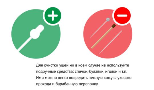Для чистки ушей используйте палочки с ограничителями