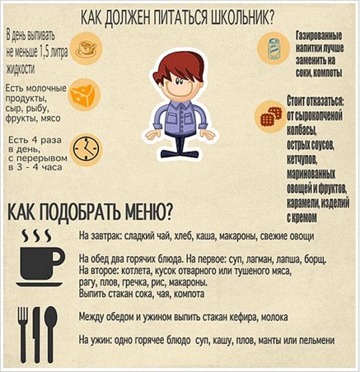 Питание школьника должно быть сбалансированным